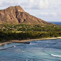 Blick auf den Diamond Head, Waikiki Beach
